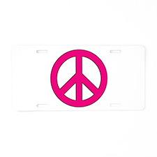 Magenta Peace Sign Aluminum License Plate