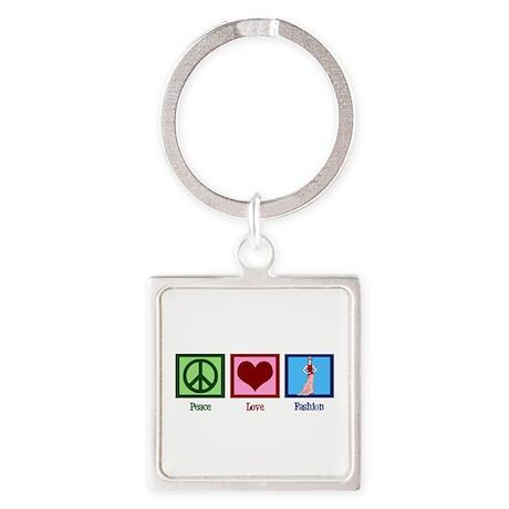 Peace Love Fashion Square Keychain