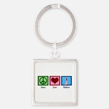 Peace Love Fashion Square Keychain
