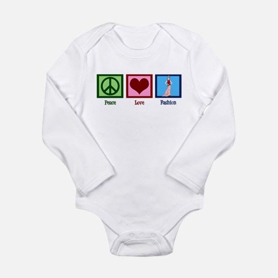 Peace Love Fashion Long Sleeve Infant Bodysuit