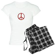 Red Narrow Peace Sign Pajamas