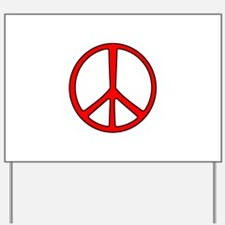 Red Narrow Peace Sign Yard Sign