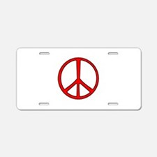 Red Narrow Peace Sign Aluminum License Plate
