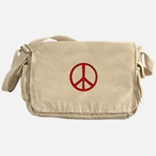 Red Narrow Peace Sign Messenger Bag