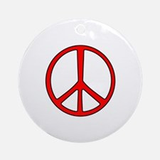 Red Narrow Peace Sign Ornament (Round)
