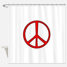 Red Narrow Peace Sign Shower Curtain