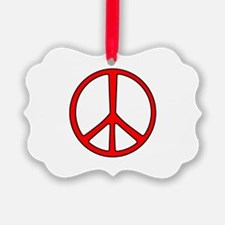 Red Narrow Peace Sign Ornament