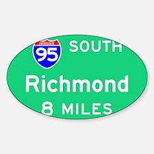 Richmond VA, Interstate 95 South Sticker (Rectangu