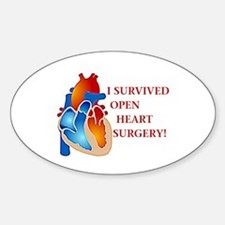 I Survived Open Heart Surgery Oval Decal