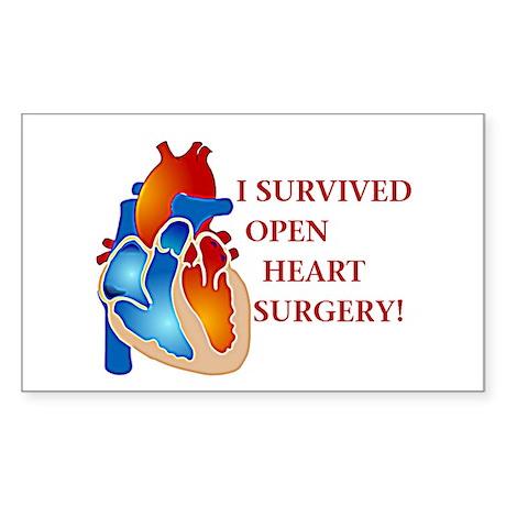 I Survived Open Heart Surgery Sticker (Rectangular