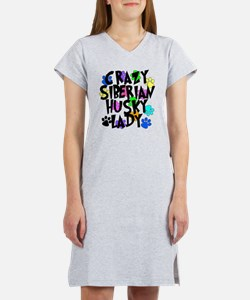 Crazy Siberian Husky Lady Women's Nightshirt