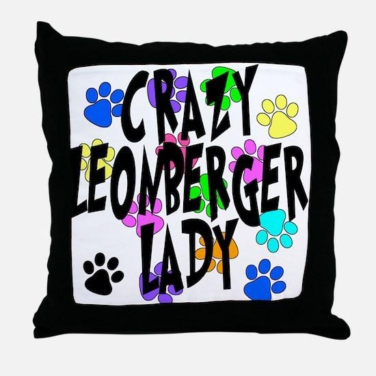 Crazy Leonberger Lady Throw Pillow