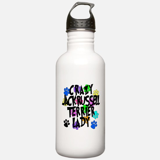 Crazy Jack Russell Terrier Lady Water Bottle