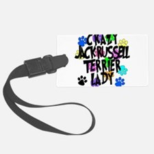 Crazy Jack Russell Terrier Lady Luggage Tag