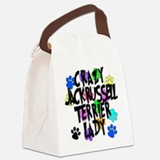 Crazy Jack Russell Terrier Lady Canvas Lunch Bag