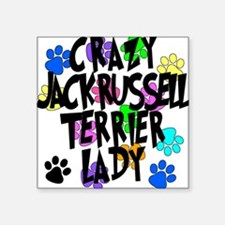 """Crazy Jack Russell Terrier Lady Square Sticker 3"""""""