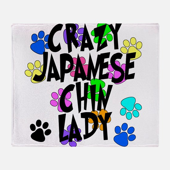 Crazy Japanese Chin Lady Throw Blanket