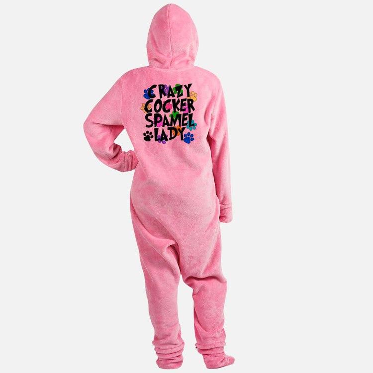 Crazy Akita Lady Footed Pajamas