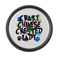 Crazy Chinese Crested Lady Large Wall Clock