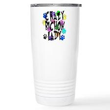 Crazy Bichon Lady Travel Coffee Mug