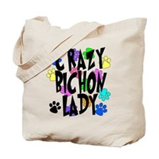 Crazy Bichon Lady Tote Bag
