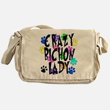 Crazy Bichon Lady Messenger Bag