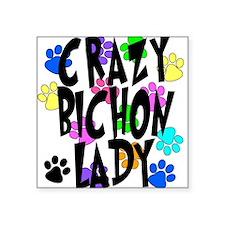 "Crazy Bichon Lady Square Sticker 3"" x 3"""