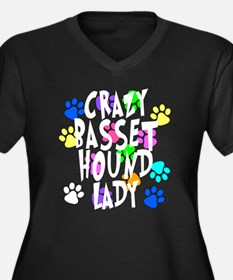 Crazy Basset Hound Lady Women's Plus Size V-Neck D