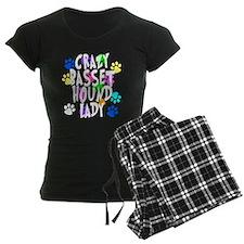 Crazy Basset Hound Lady Pajamas
