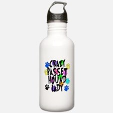 Crazy Basset Hound Lady Water Bottle
