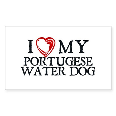 I Heart My Portugese Water Dog Sticker (Rectangle)