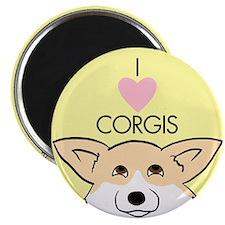 """I Love Corgis 2.25"""" Magnet (100 pack)"""