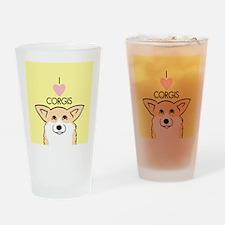 I Love Corgis Drinking Glass