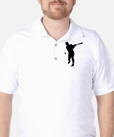 Baseball Batter Silhouette Golf Shirt