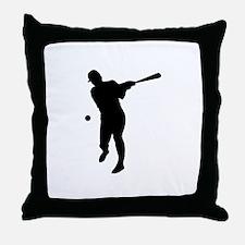 Baseball Batter Silhouette Throw Pillow