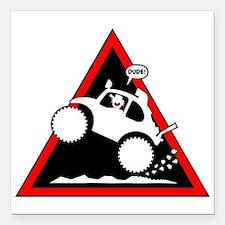 "BAJA BUG WHEELIES Danger Square Car Magnet 3"" x 3"""