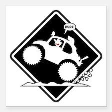 "BAJA BUG WHEELIES placard Square Car Magnet 3"" x 3"