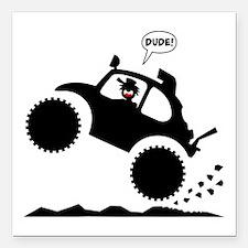 "BAJA BUG WHEELIES black image Square Car Magnet 3"""