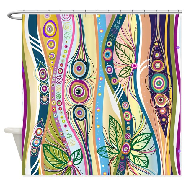 Colorful flourish stripes shower curtain by bestshowercurtains Colorful shower curtains