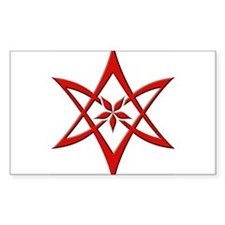 Red Curved Unicursal Hexagram Oval Decal