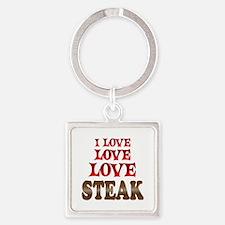 Love Love Steak Square Keychain