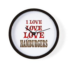 Love Love Hamburgers Wall Clock