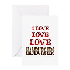 Love Love Hamburgers Greeting Card