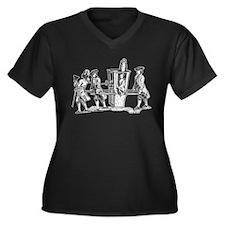 Wig Ride Women's Plus Size V-Neck Dark T-Shirt