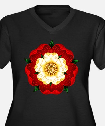 Tudor Rose Women's Plus Size V-Neck Dark T-Shirt