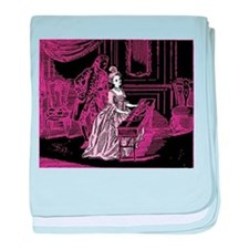 Pink Lady Playing Harpsichord baby blanket