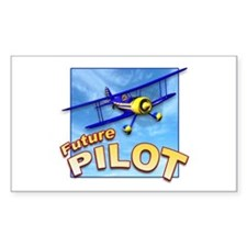 Blue BiPlane Future Pilot Rectangle Decal