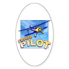 Blue BiPlane Future Pilot Oval Decal