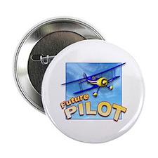 "Blue BiPlane Future Pilot 2.25"" Button (10 pack)"