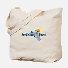 Fort Myers - Map Design. Tote Bag